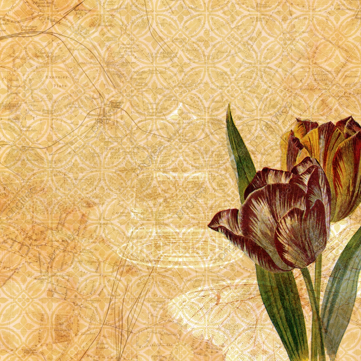 Olive Green Vintage Floral Wallpaper Background