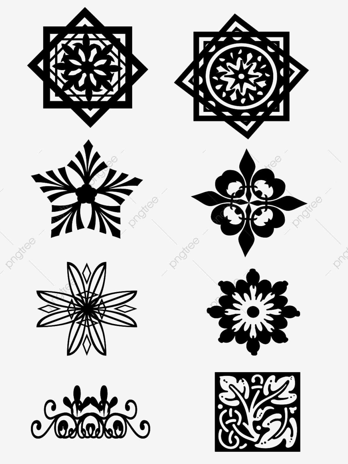 Black And White Pattern Border Can Be Used For Commercial Material
