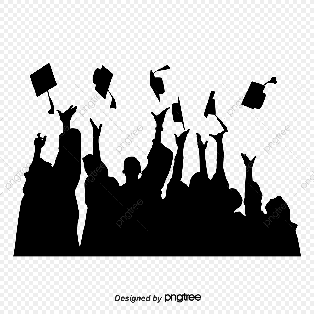 Black Graduation Silhouette, Character, Silhouette, Student