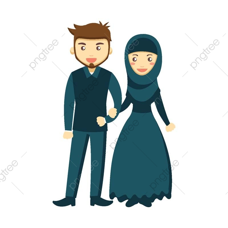 Blessed Muslim Marriage Couple Character, Avatar, Logo, Isolated PNG