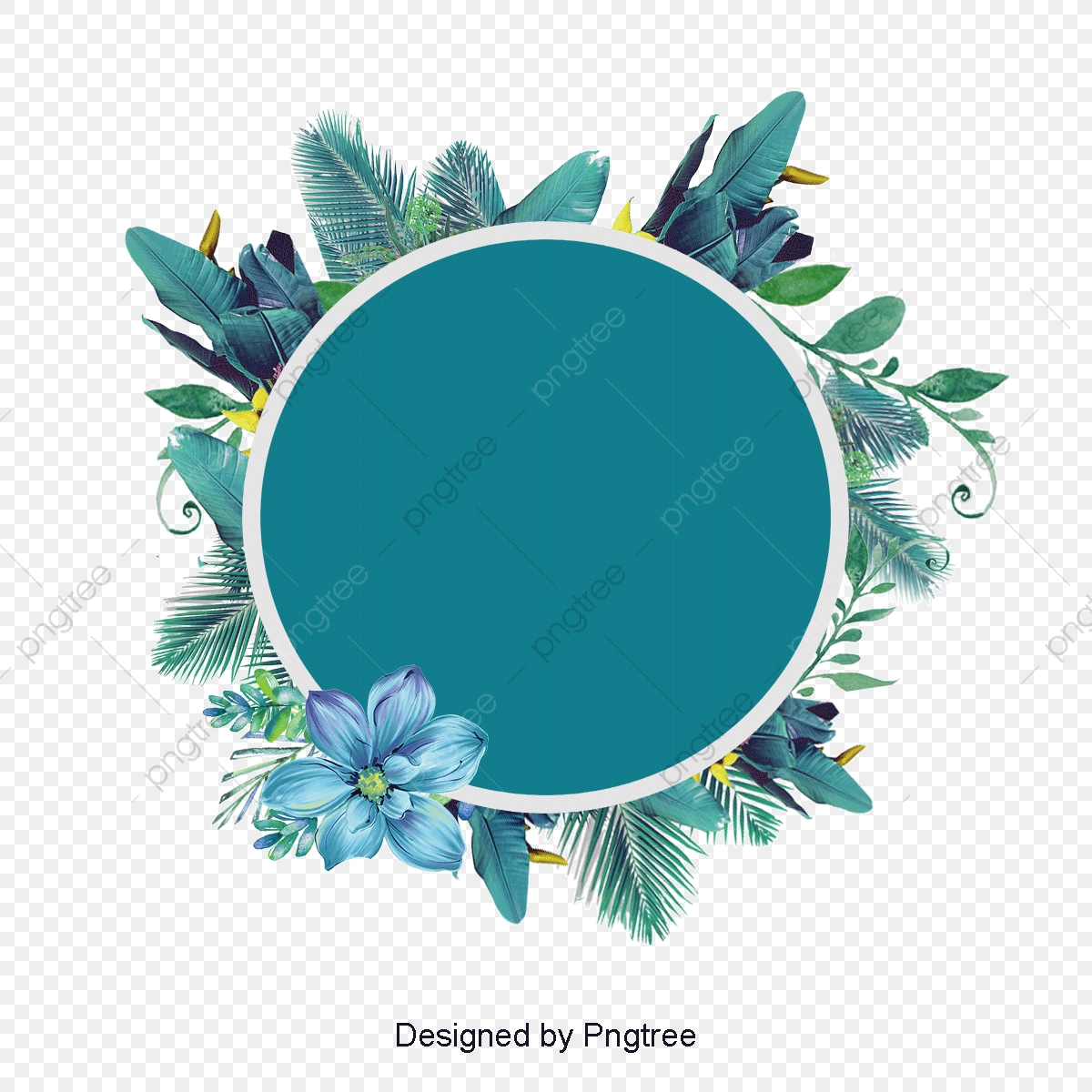 bleu de flore beau rond plante fichier png et psd pour le