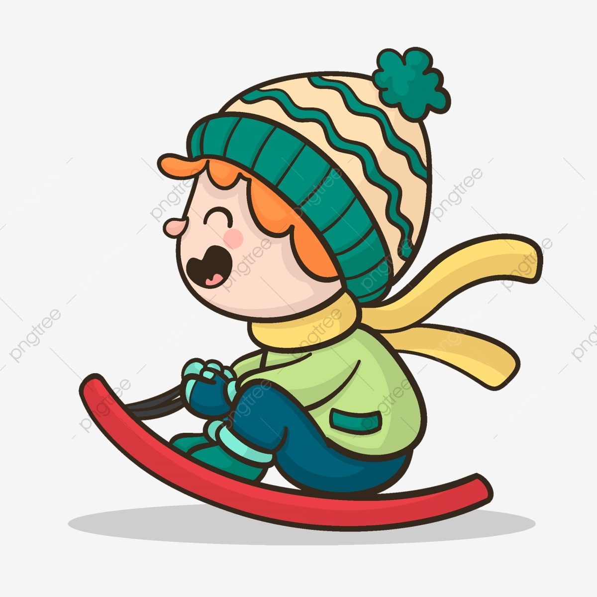 Boy Element Sitting On Snowboarding Happy Skateboard Winter Png And Vector With Transparent Background For Free Download