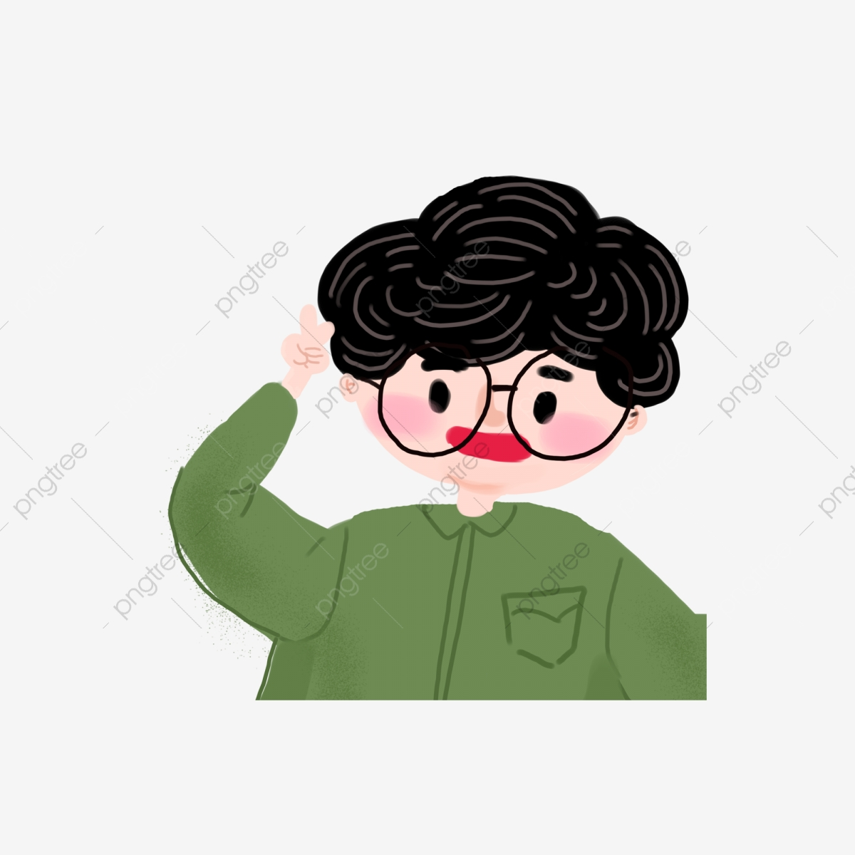 Boy With Curly Hair Wearing Glasses Cartoon Element Book Angry