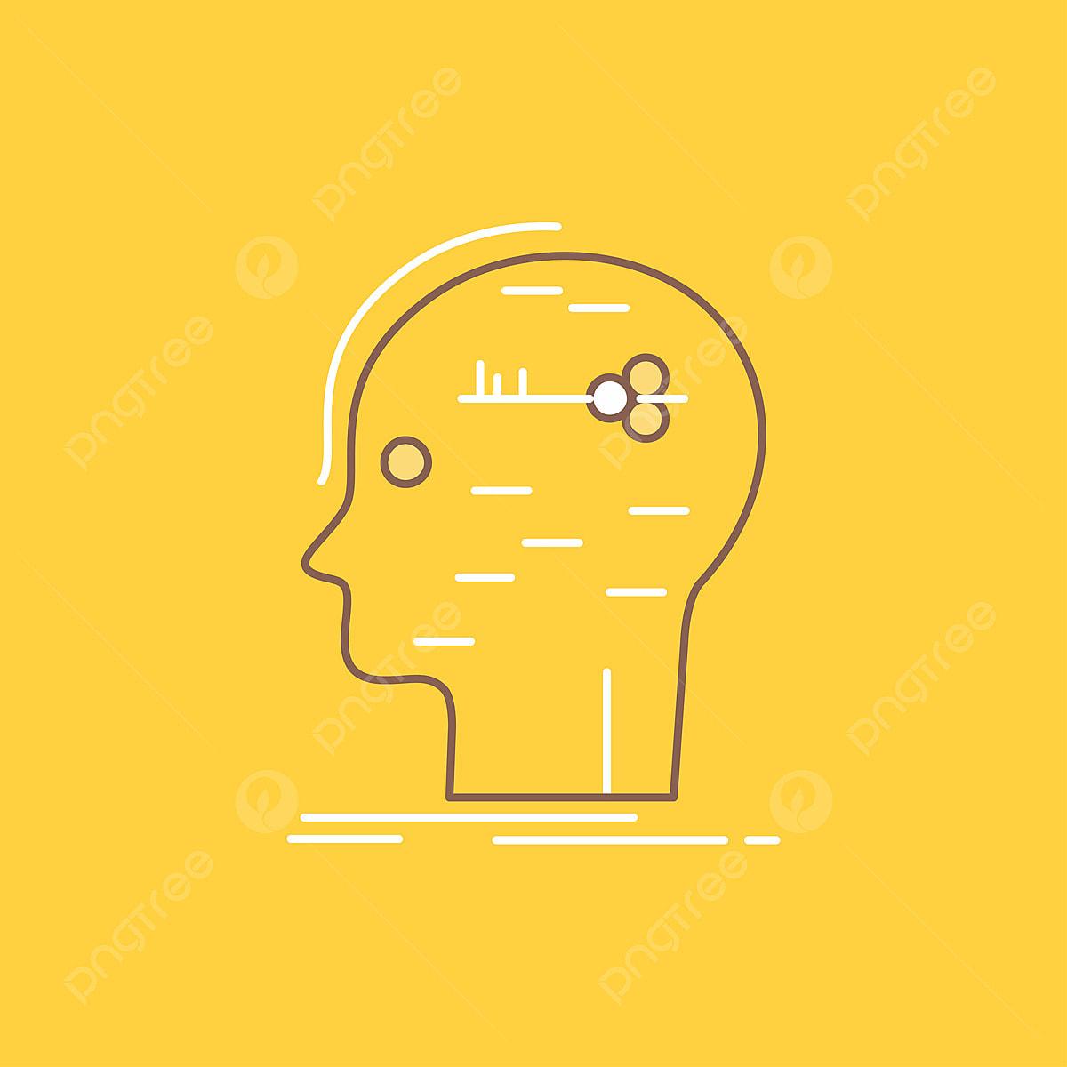 Brain Hack Hacking Key Mind Flat Line Filled Icon Beautiful