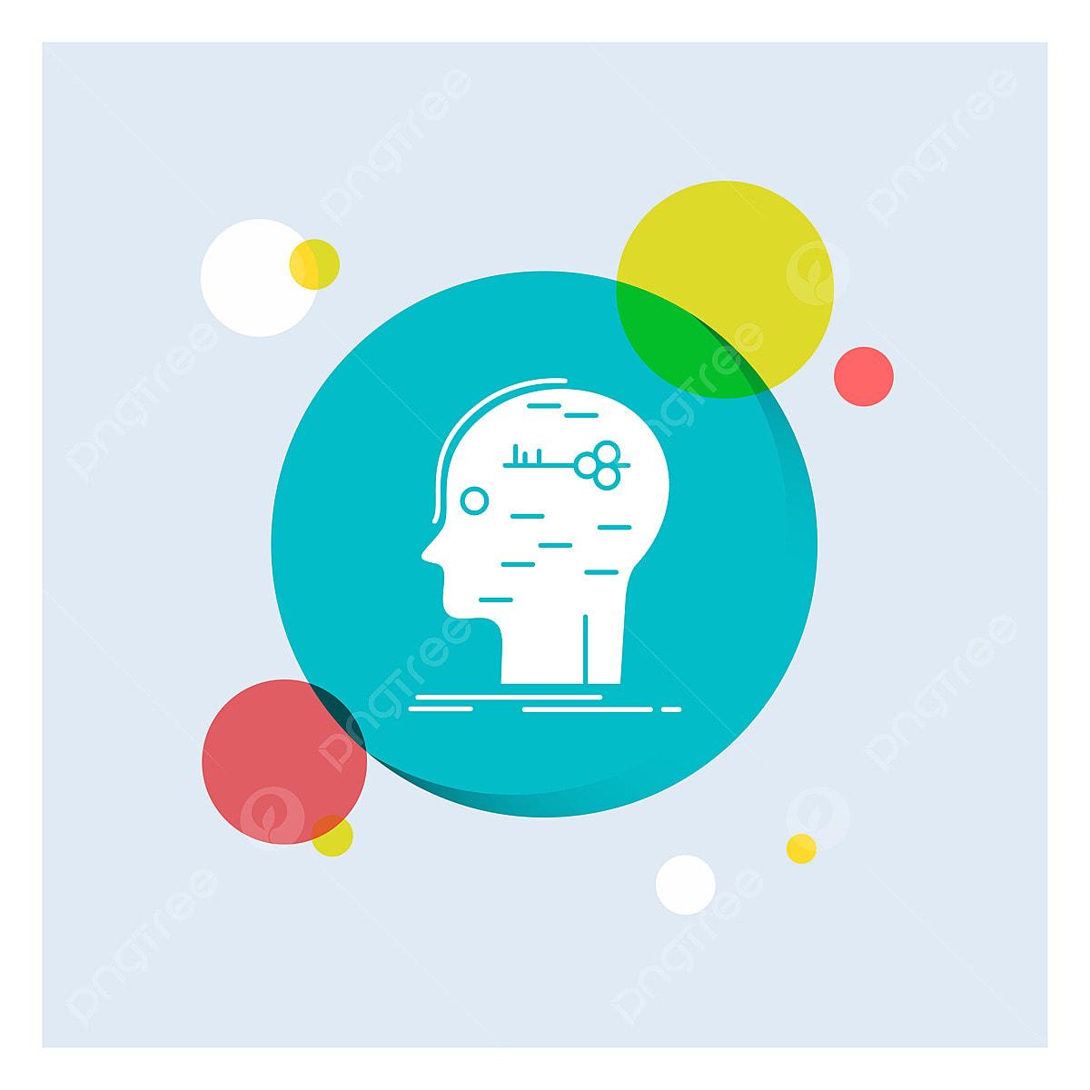 Brain Hack Hacking Key Mind White Glyph Icon Colorful Circle