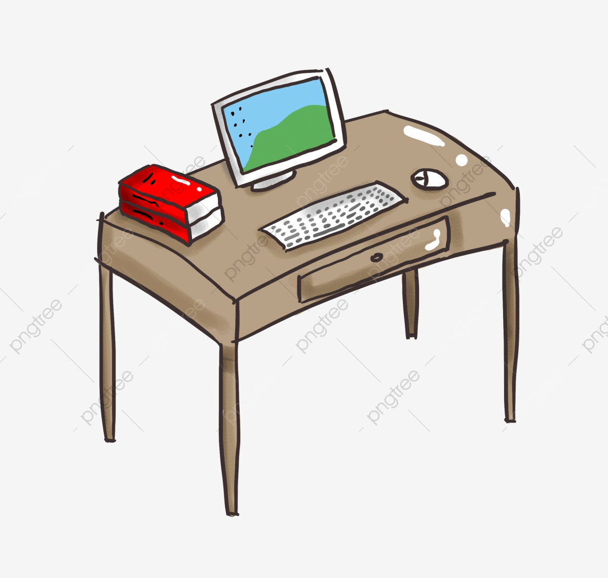 Brown Computer Desk Wooden Table White Computer White Display White Keyboard White Mouse Furniture Png Transparent Clipart Image And Psd File For Free Download