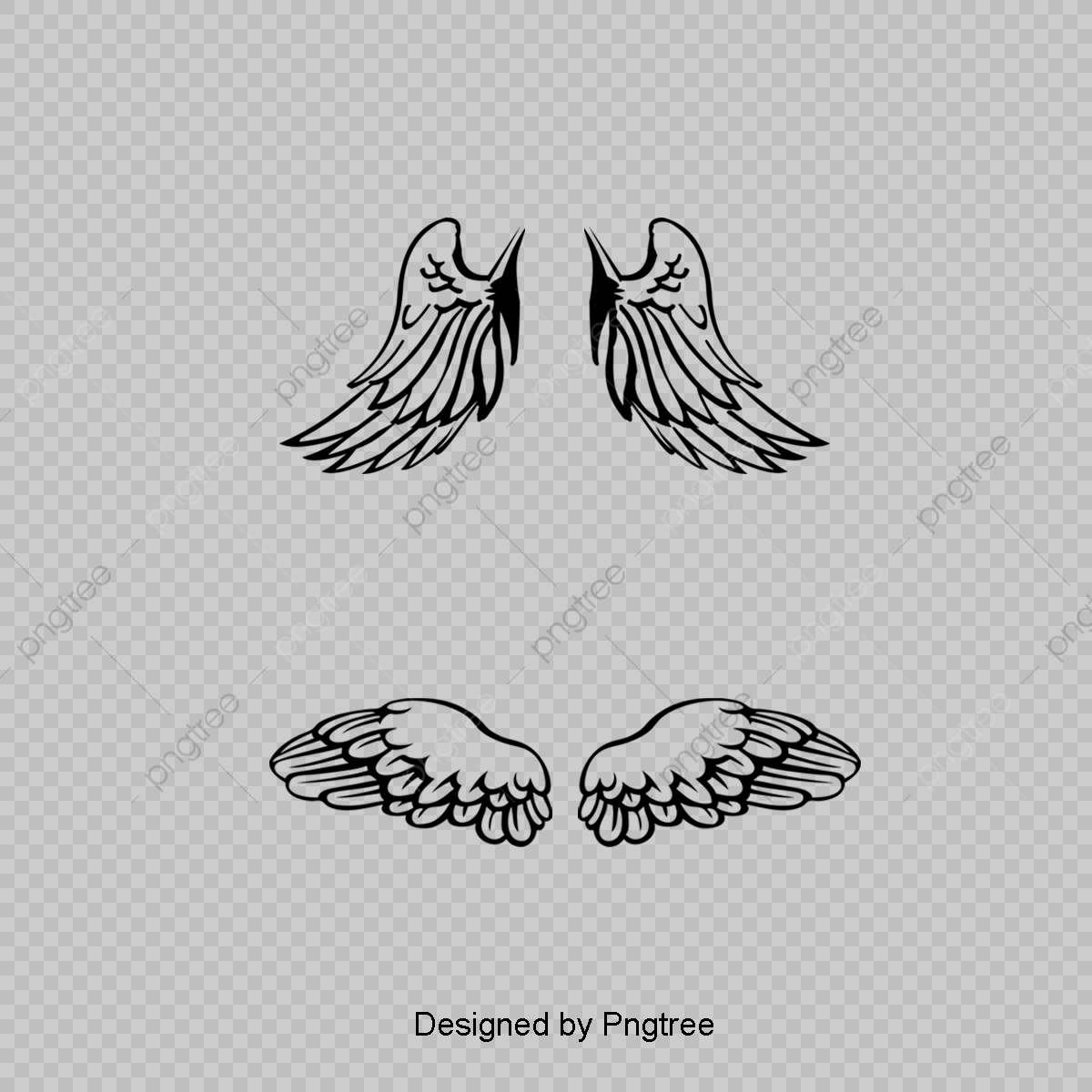 Cartoon Angel Wings Black Line Element Simple Hand Painted Cartoon Png Transparent Clipart Image And Psd File For Free Download