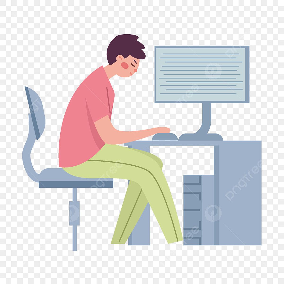 Budak Kartun Bekerja Di Komputer Bersebelahan Dengan Unsur