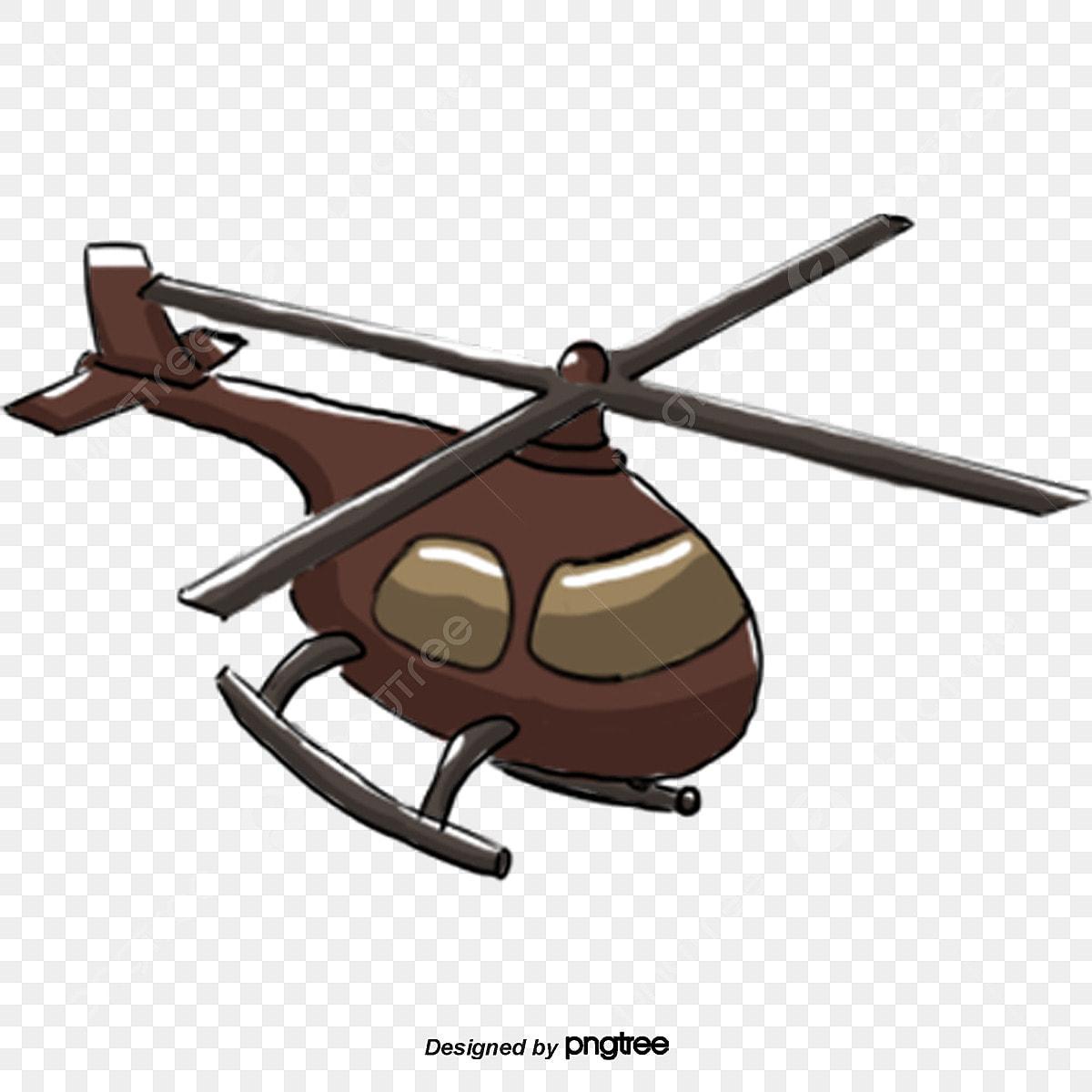 Kartun Coklat Helikopter Unsur Unsur Kartun Tempat