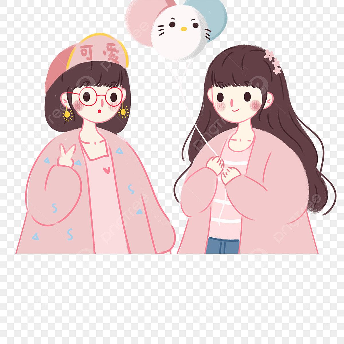 Gambar Teman Wanita Kartun Comel Dua Reka Bentuk Watak Kartun Merah Jambu Comel Gadis Kecil Png Dan Psd Untuk Muat Turun Percuma