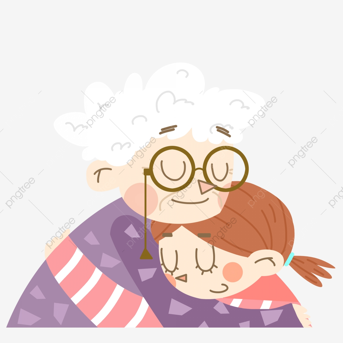 Cartoon Cute Grandmother And Child, Cartoon, Lovely, Grandma PNG ...