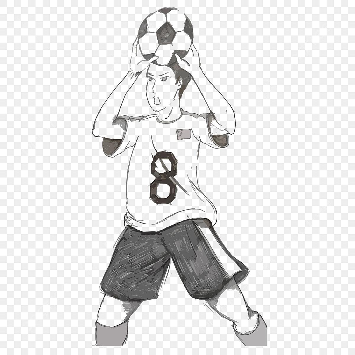 Karikaturhand Gezeichnet Fussballspieler Komisch Torwart