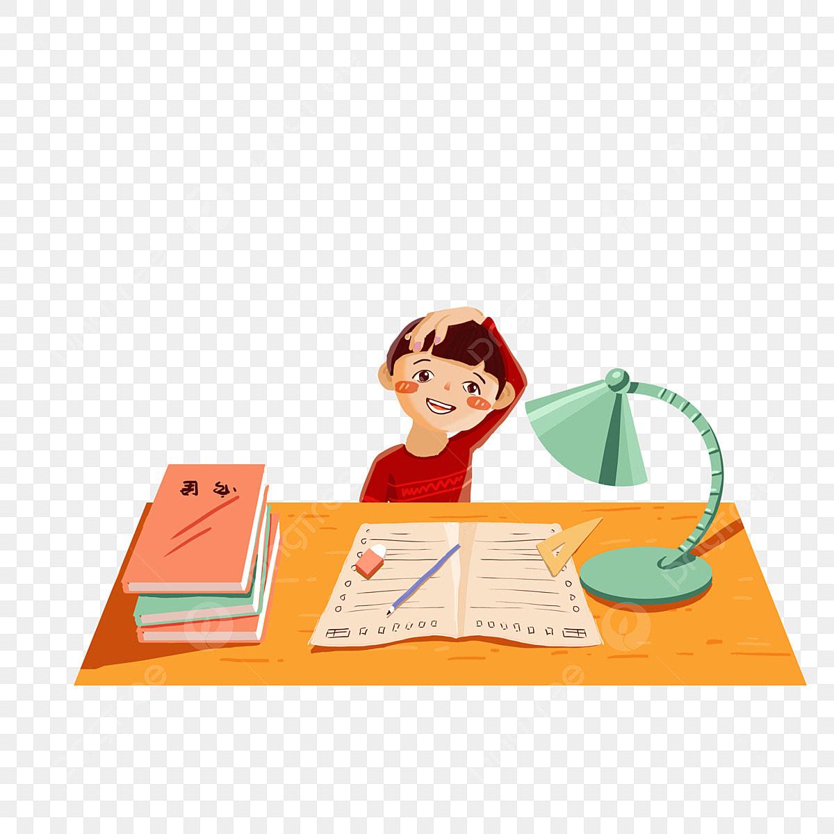 Kid Doing Homework Clipart -
