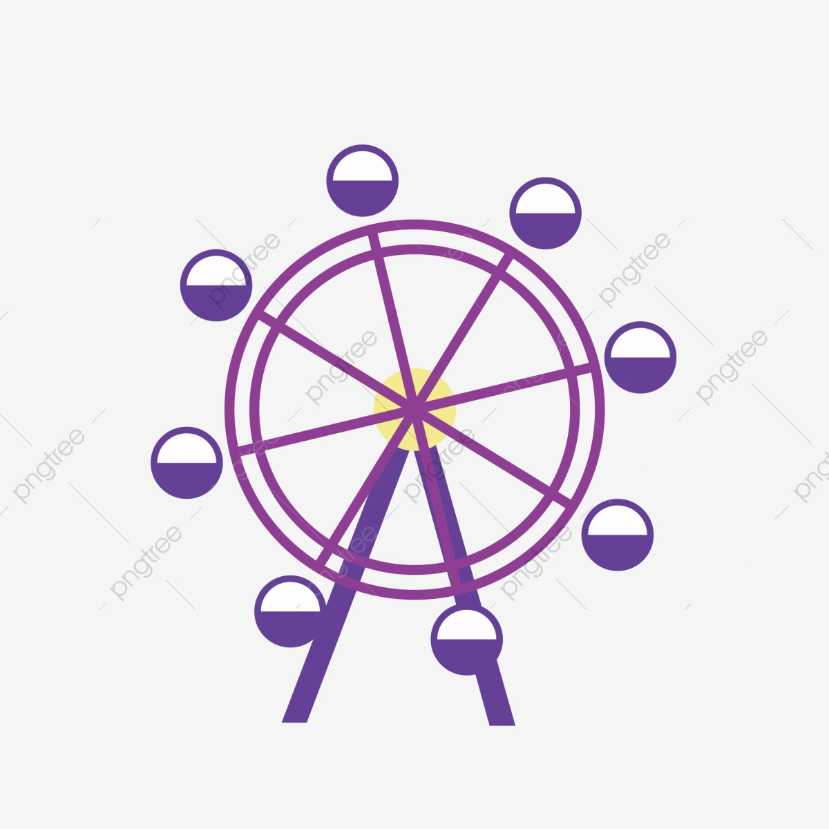 Cartoon Minimalist Ferris Wheel Illustration Cartoon Purple Simple Png And Vector With Transparent Background For Free Download