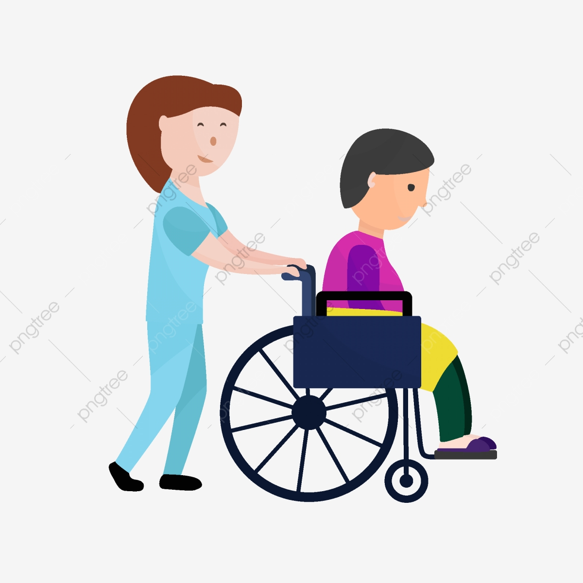 Cartoon Nursing Home Care Worker Pushing Old Man Element Old Man Wheelchair Care Workers Png Transparent Image And Clipart For Free Download
