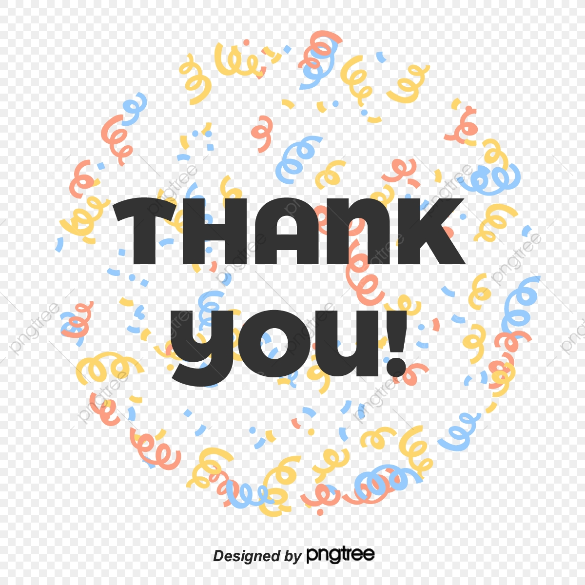 Cartoon Ribbon Thank You Font Design Ppt Mapping Thank You Font