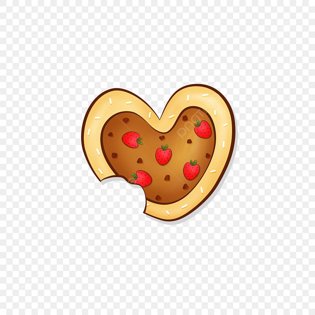 Elemento De Comida Cookie Coracao Amor Morango Dos Desenhos