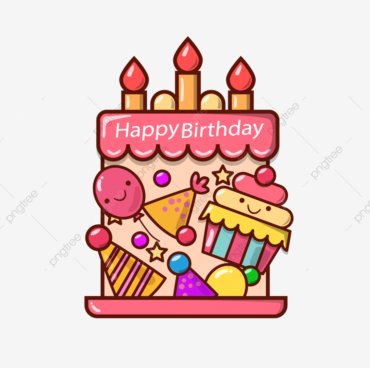 Commercial Use Resource Upgrade To Premium Plan And Get License AuthorizationUpgradeNow Cartoon Style Happy Birthday Cake