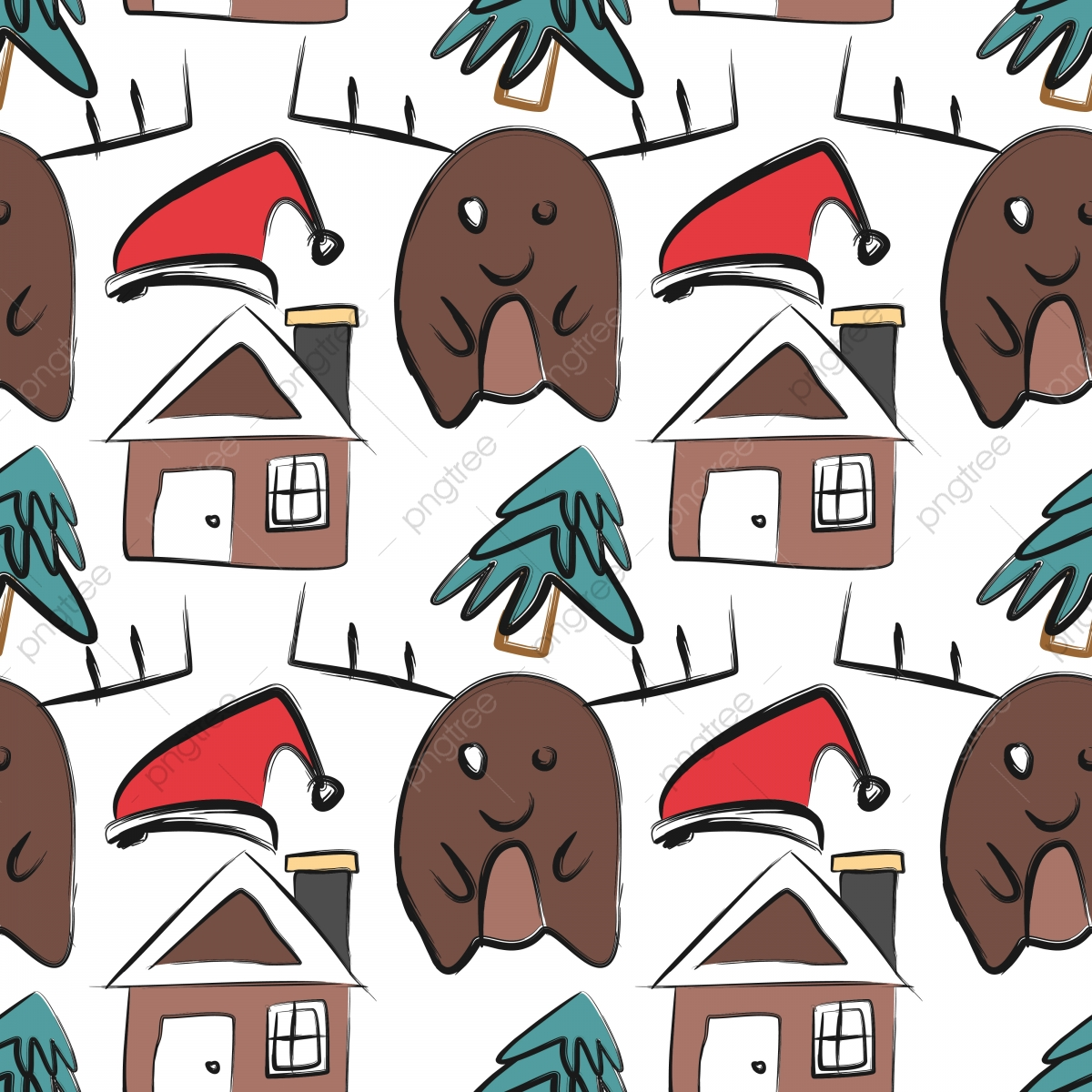 Colorful Christmas Background For Kids.Christmas Pattern With Childish Drawing Doodle Creative
