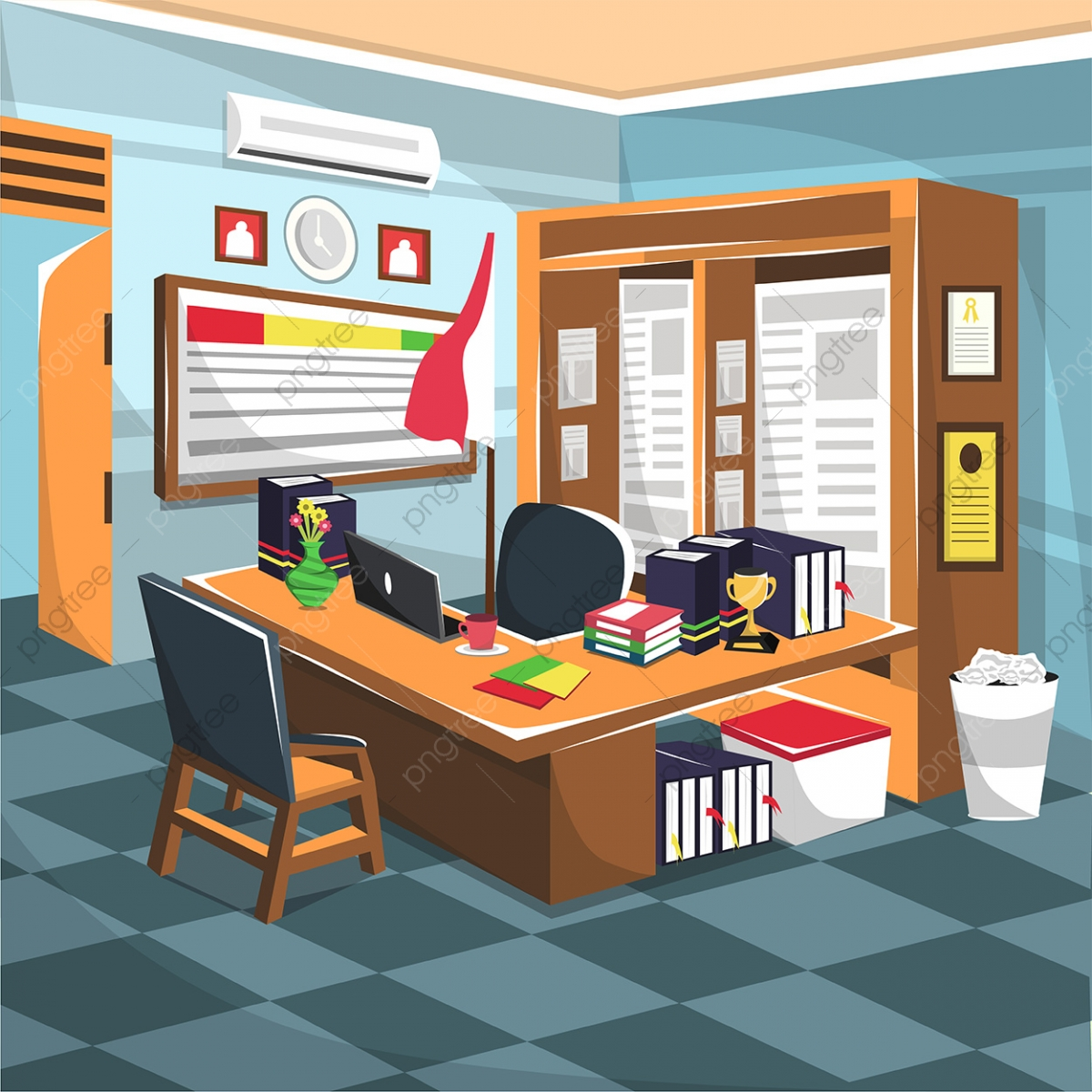 Clean Teacher Office Room With Cupboard Laptop Air