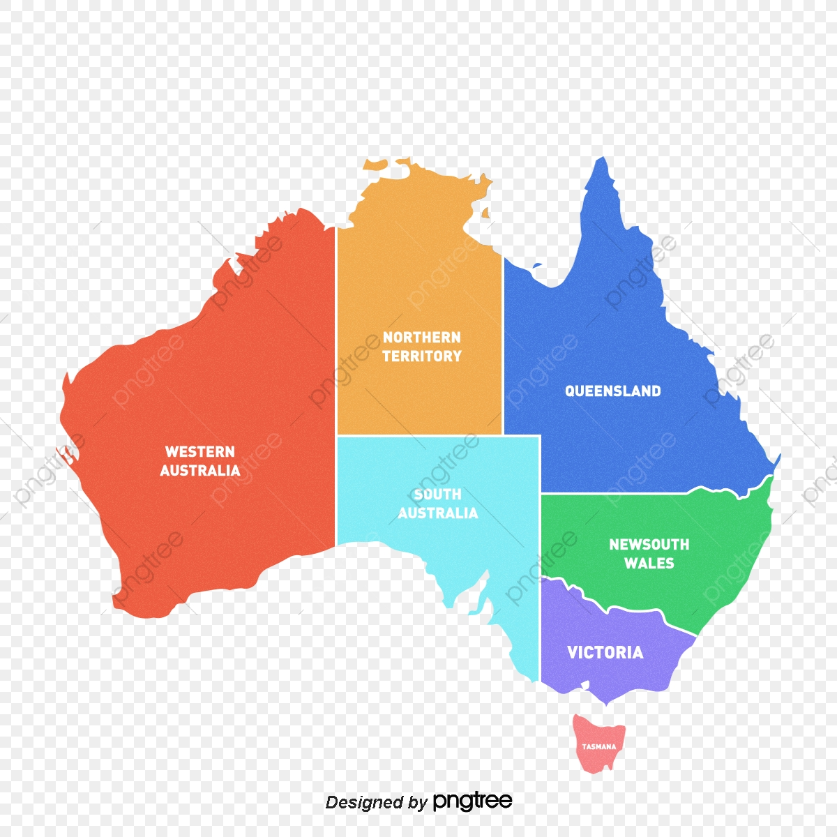 Australia Map Png.Colorful Creative Map Of Australia Colour Australia Map Of