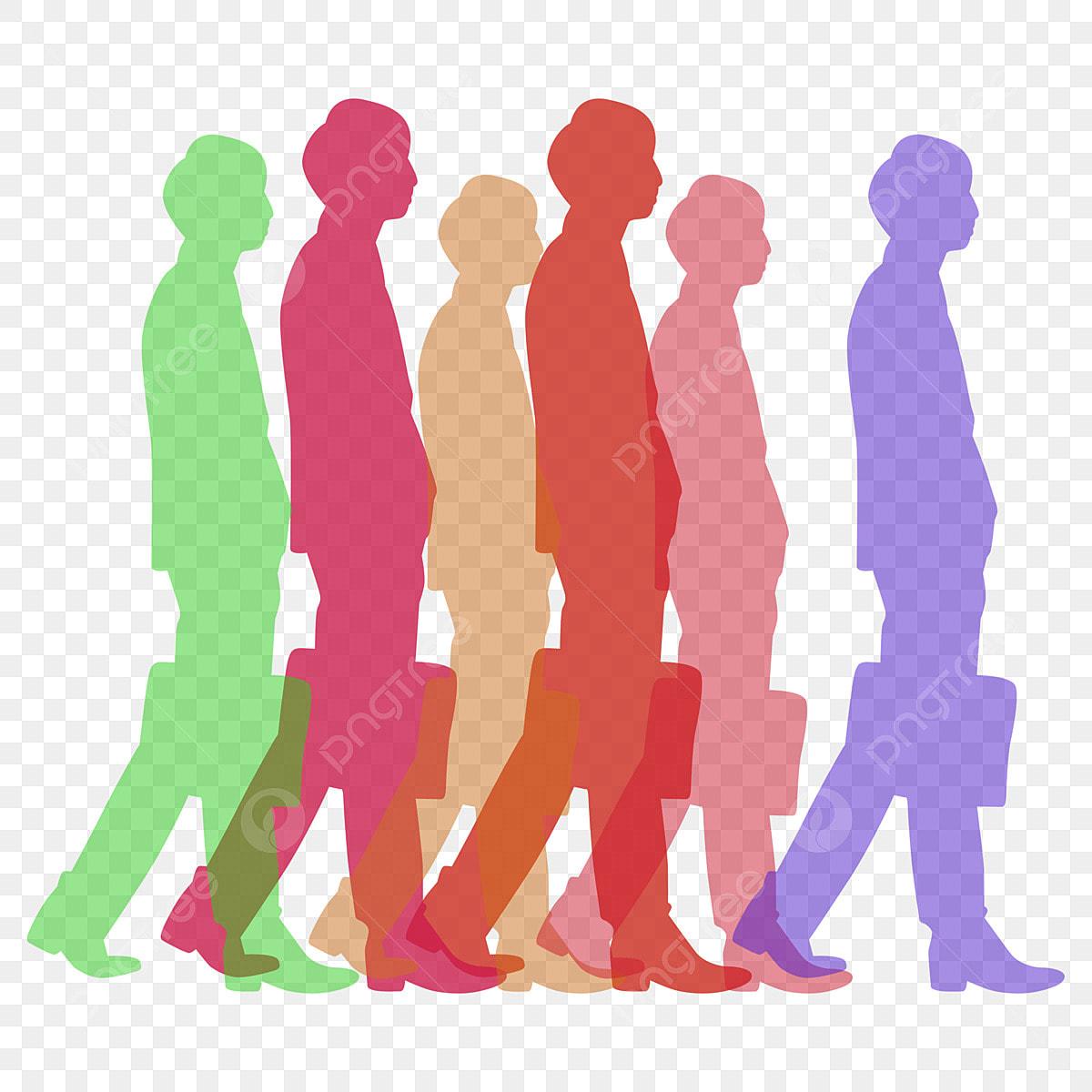 Colour Happy Crowd Silhouette Elements Crowd Silhouette Color