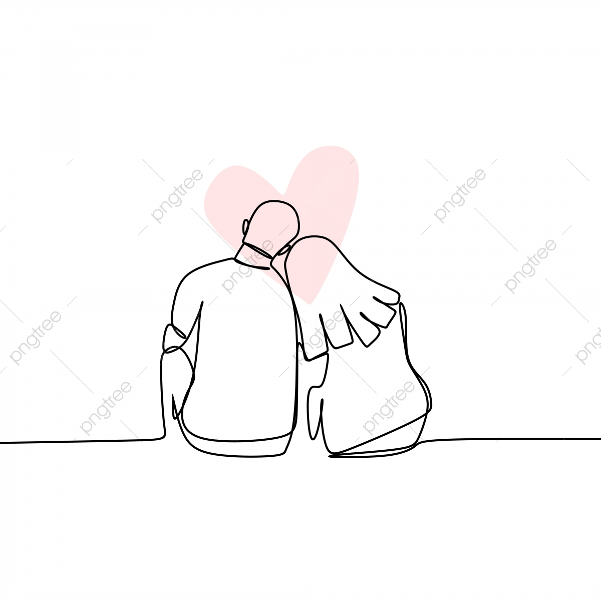 Concept Of Romantic Couple In Love Continuous Line Drawing Vector