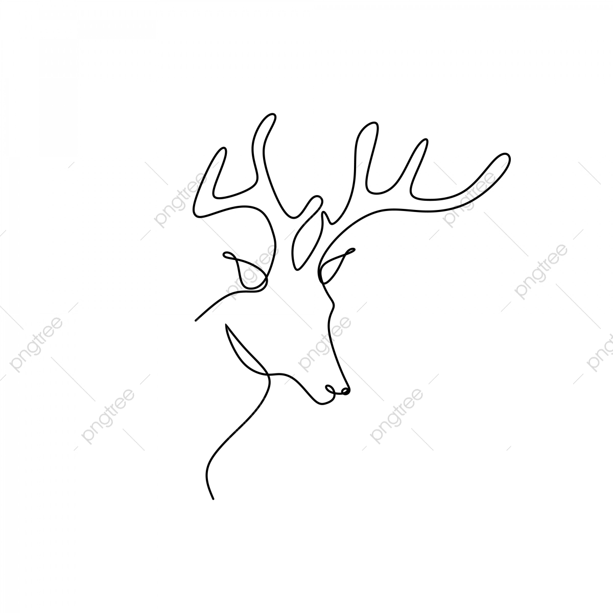 Continuous Line Drawing Of A Deer Head Line Icon Sketch Png And Vector With Transparent Background For Free Download