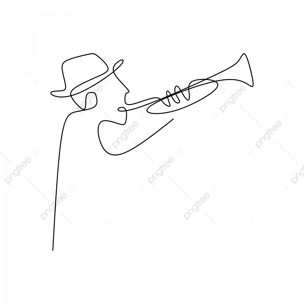 Continuous Line Drawing Of Jazz Musicians Playing Trumpet Music