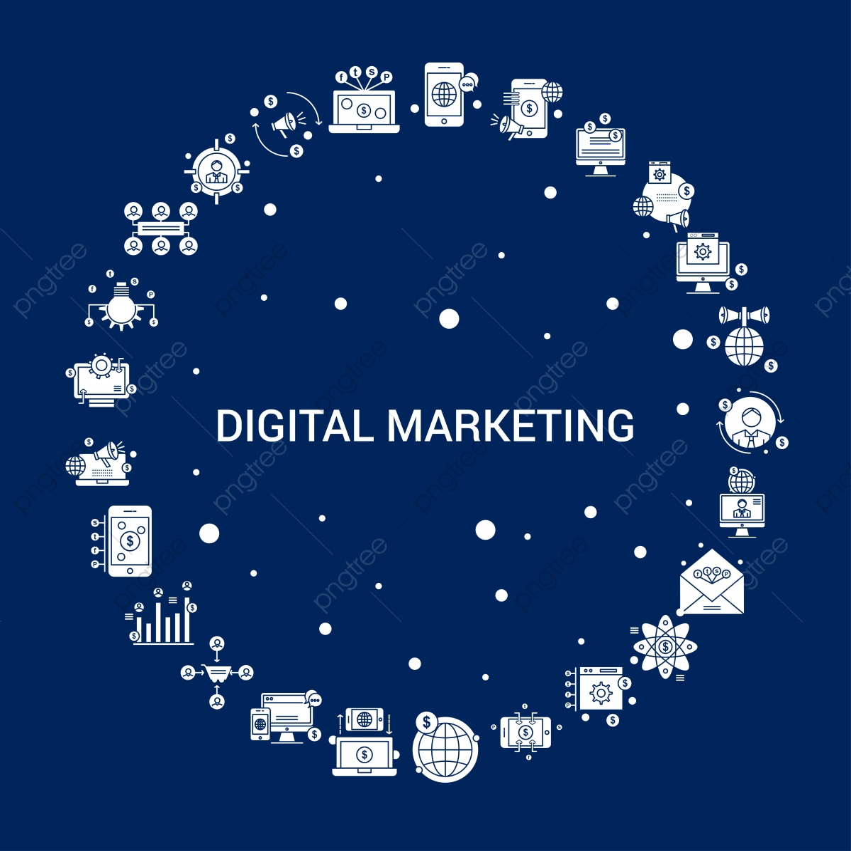 Creative Digital Marketing Icon Background, Announce World ...