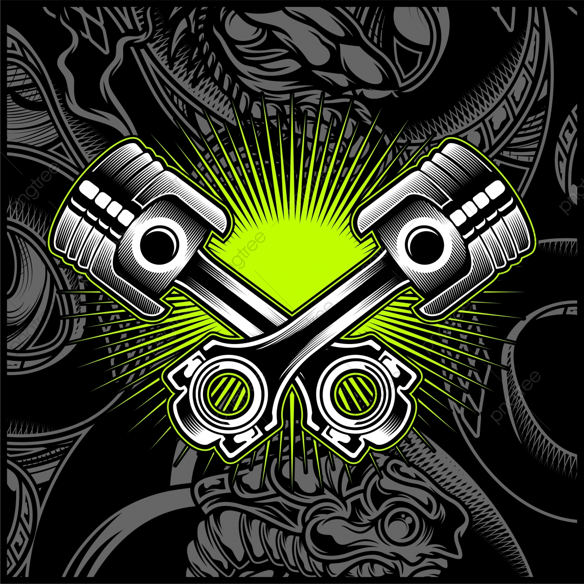 Cross Motorcycle Piston Emblem Logos Badge Vector, Pistons