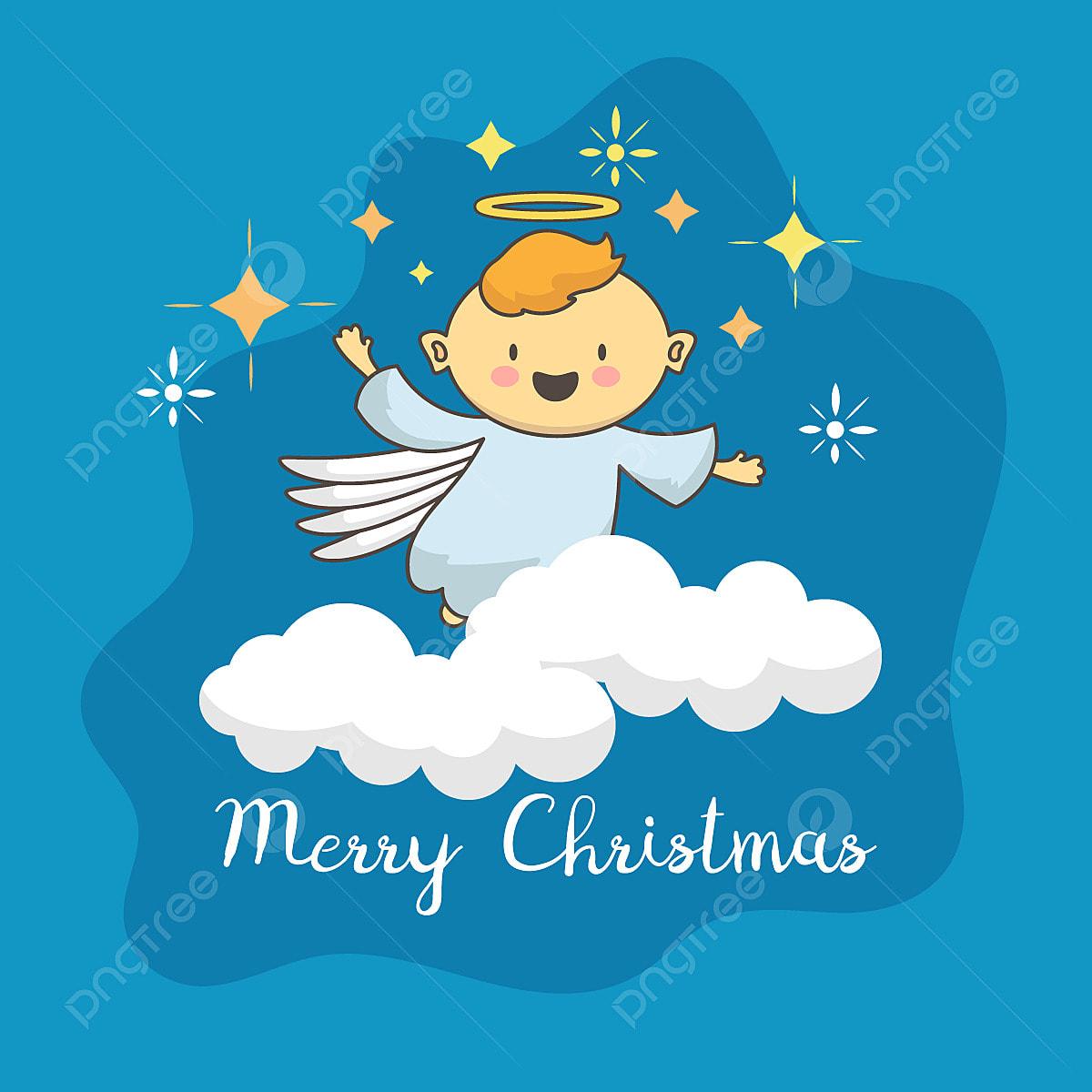 Joli Ange Avec étoile De Noël Contexte Noël Carte De Noël
