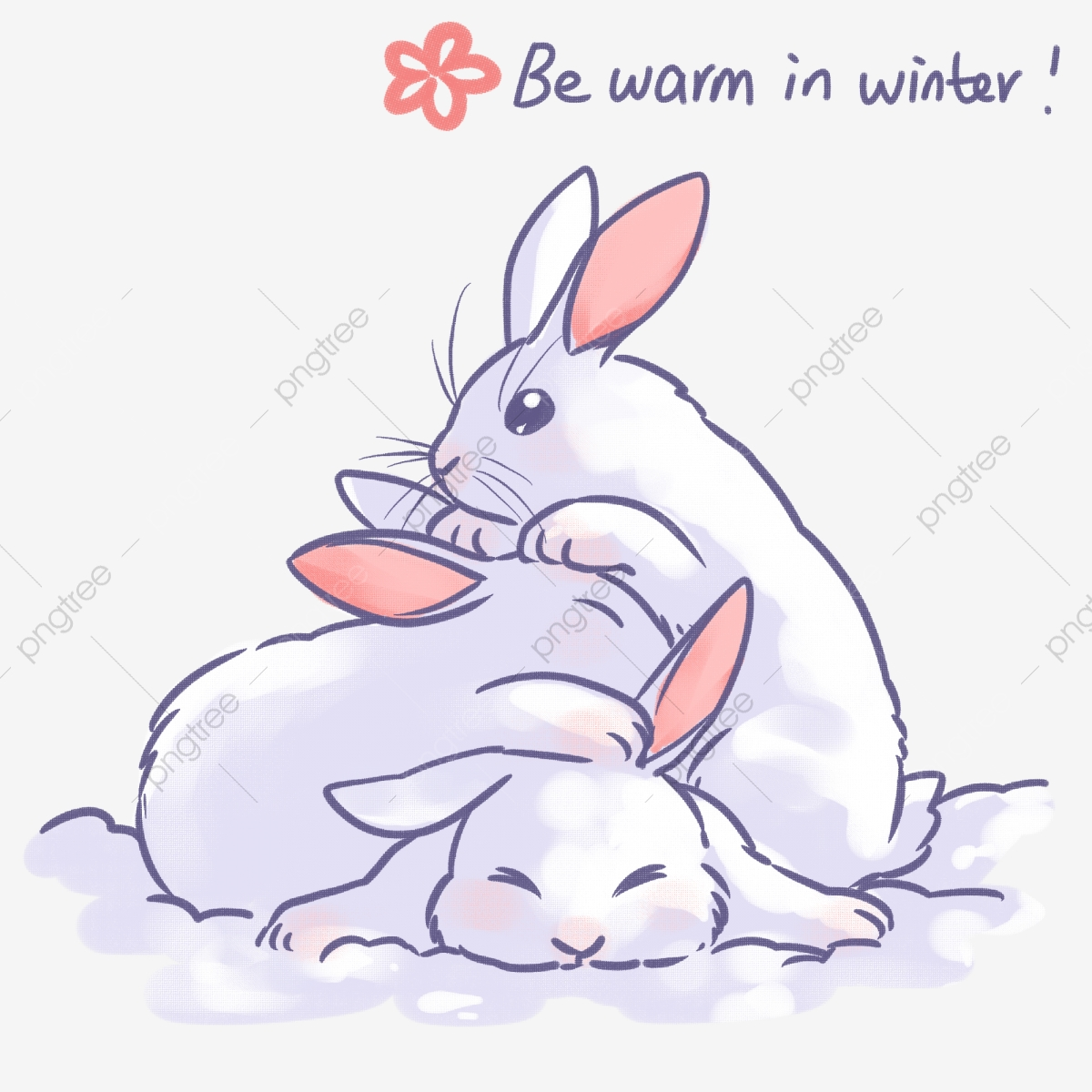 Cute Animal Hand Painted Winter Snow Rabbit Warm And