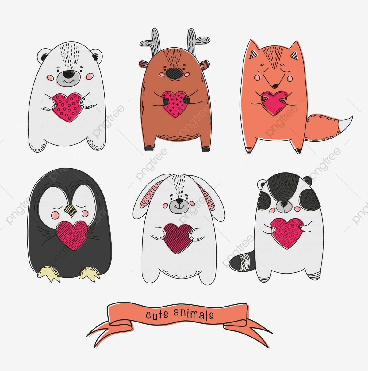 Cute Animals Comic Valentines Cartoon Vector Illustration Set Animal Heart Bear Png And Vector With Transparent Background For Free Download