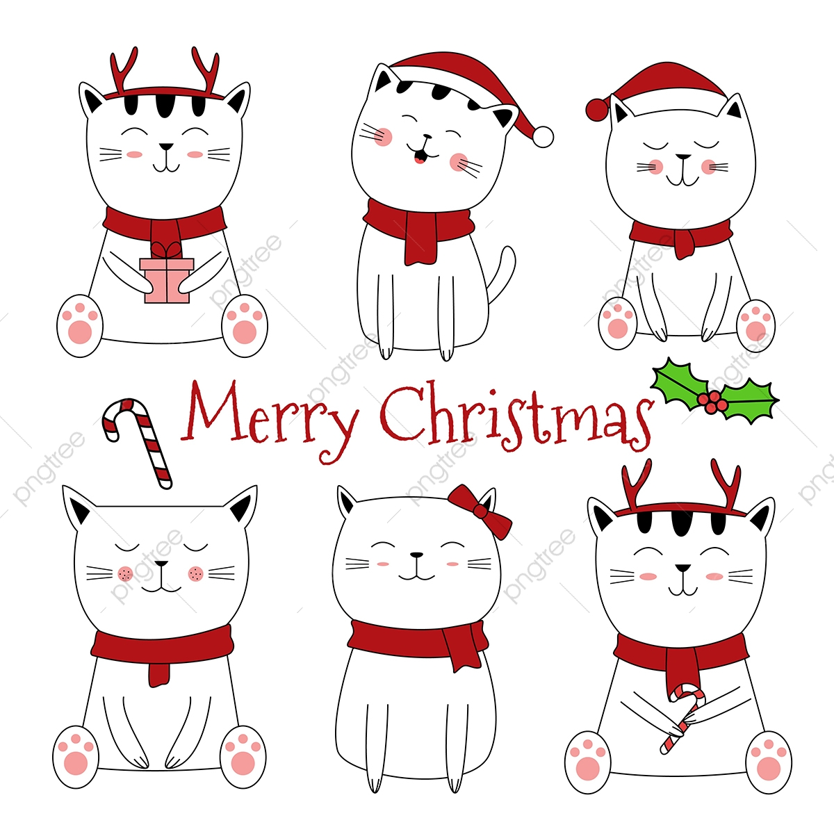 Cute Cat Christmas Design Vector Background Cat Clipart Christmas Cat Png And Vector With Transparent Background For Free Download