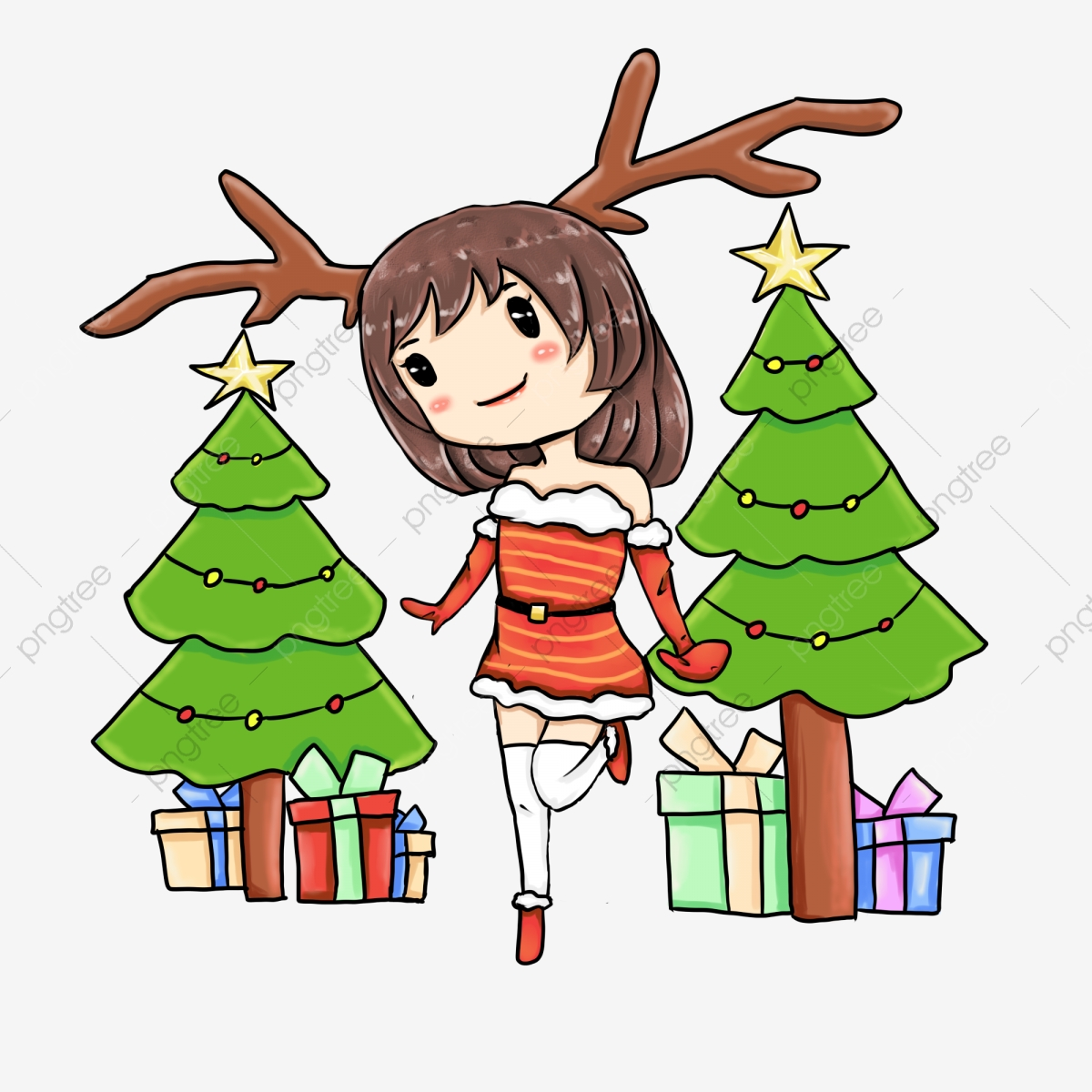 Christmas Giving Clipart.Cute Girl Gift Giving Illustration Christmas Winter