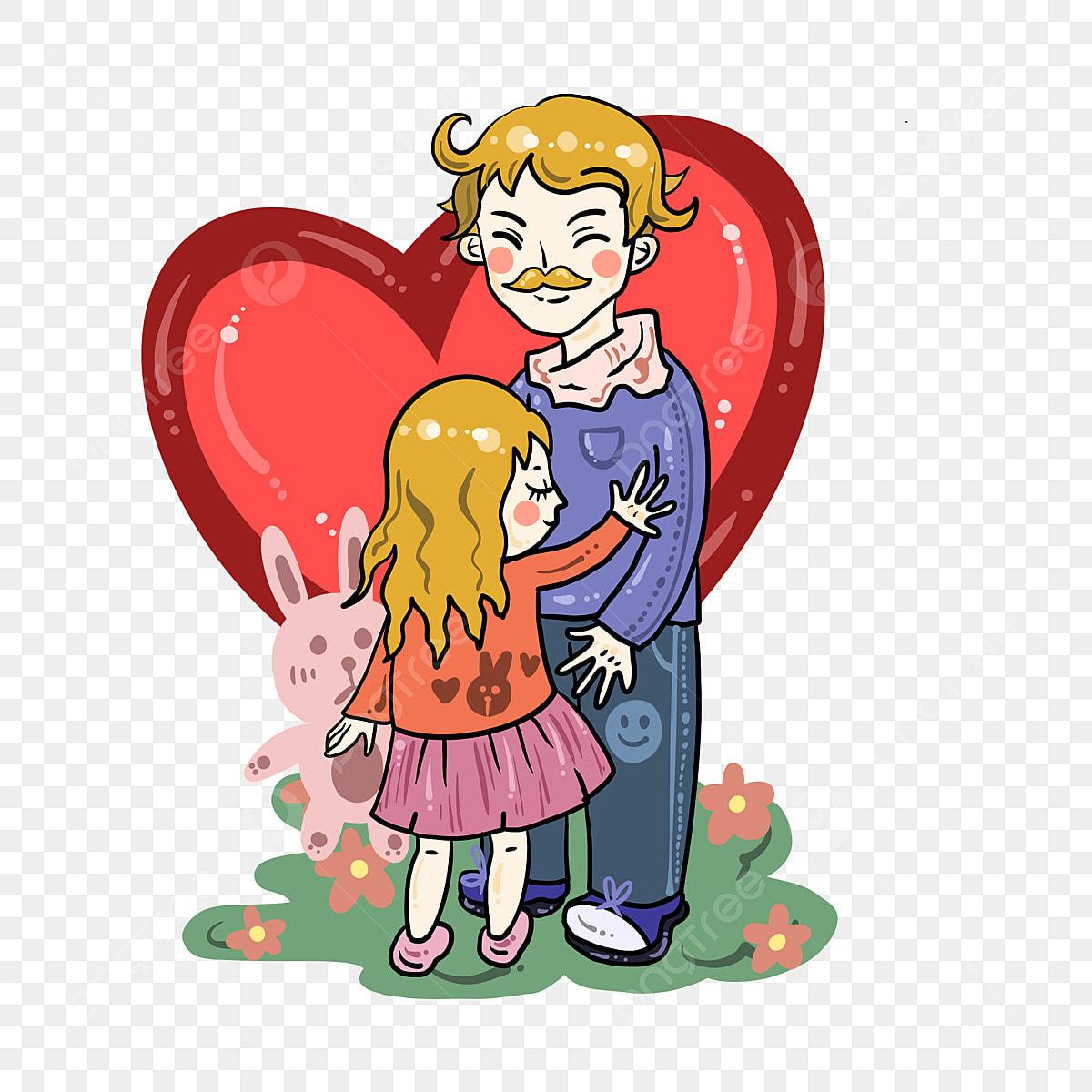 Gambar Cute Lukisan Tangan Ayah Dan Anak Perempuan Bentuk Interaktif Penjagaan Anak Perempuan Png Dan Psd Untuk Muat Turun Percuma