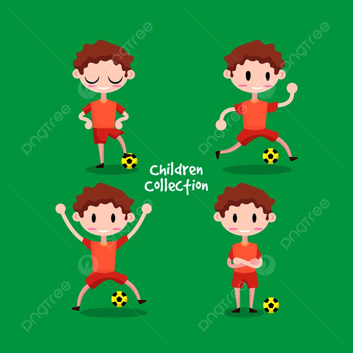 Suss Illustration Kinder Fussball Spielen Junge Fussball