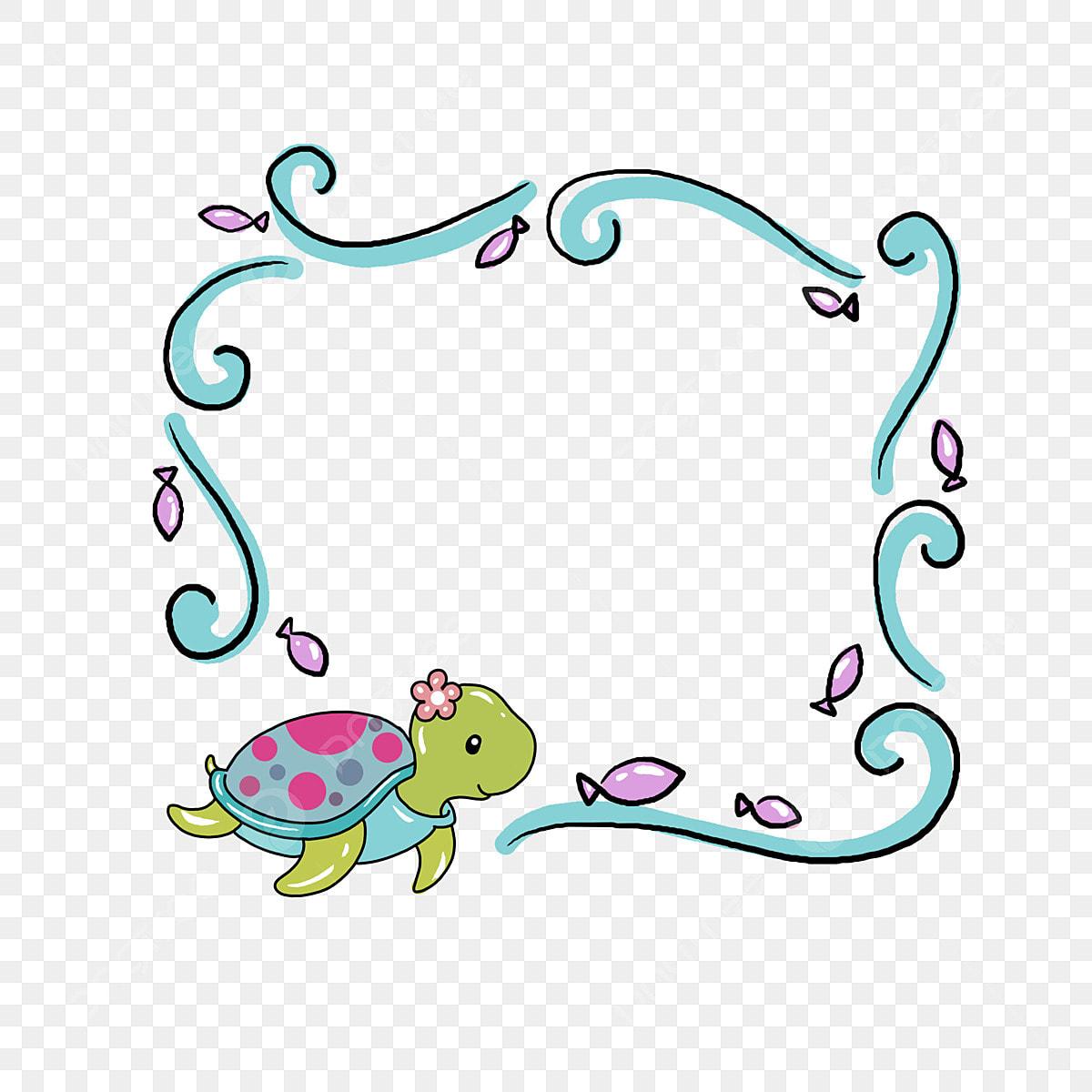 Cute Sea Turtle Pink Fish Beautiful Border Cartoon Border Hand