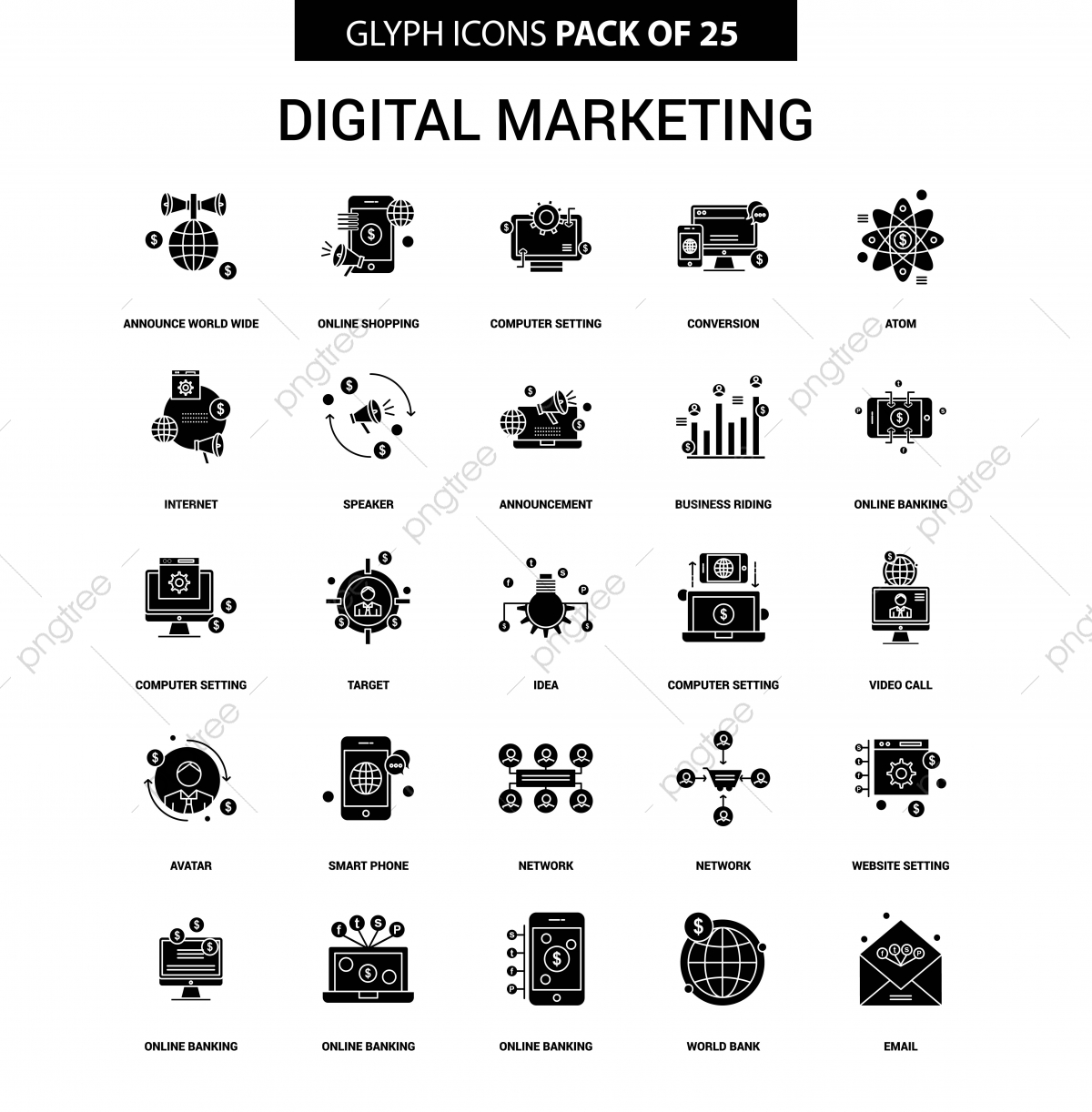 digital marketing glyph vector icon set digital icons marketing icons announce world wide png and vector with transparent background for free download https pngtree com freepng digital marketing glyph vector icon set 3753983 html