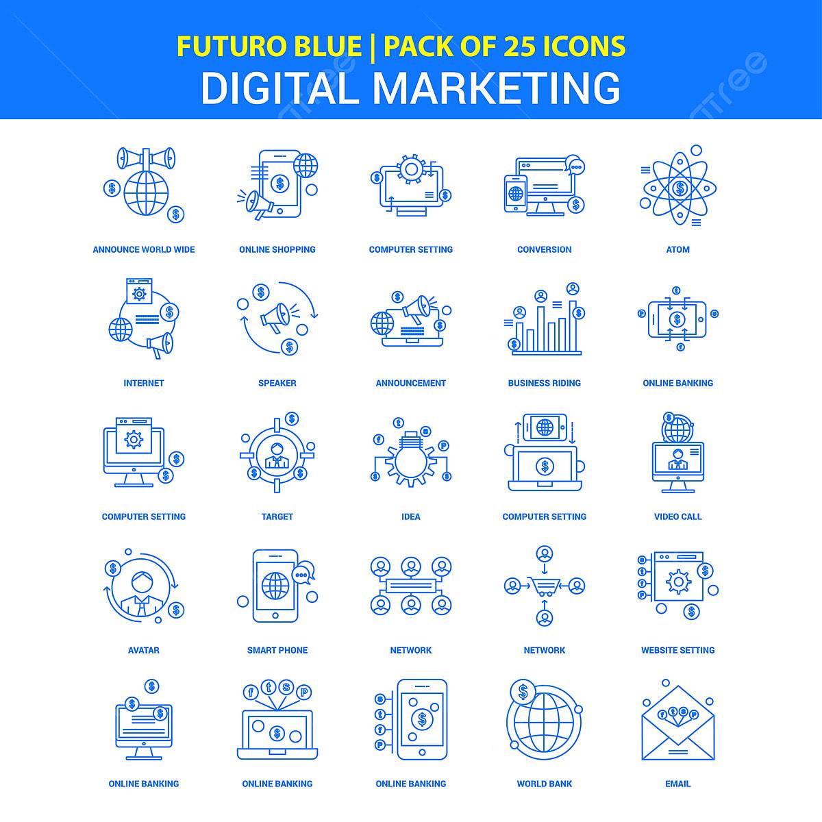 Digital Marketing Icons Futuro Blue 25 Icon Pack, Digital ...