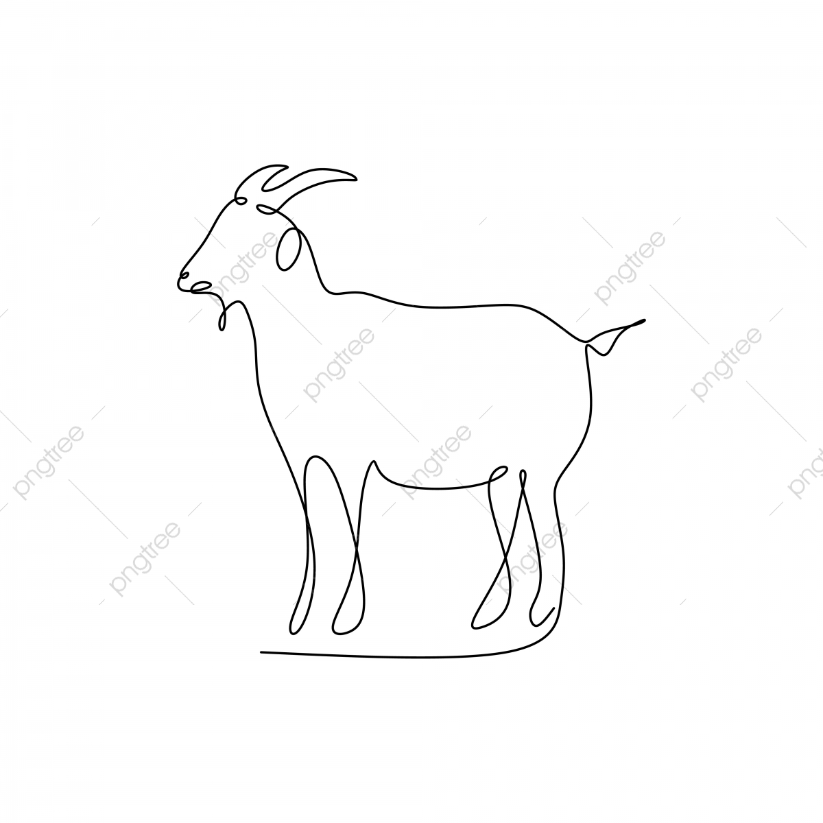 Drawing Continuous Line Of Goat Eid Al Adha, Drawing, Goat