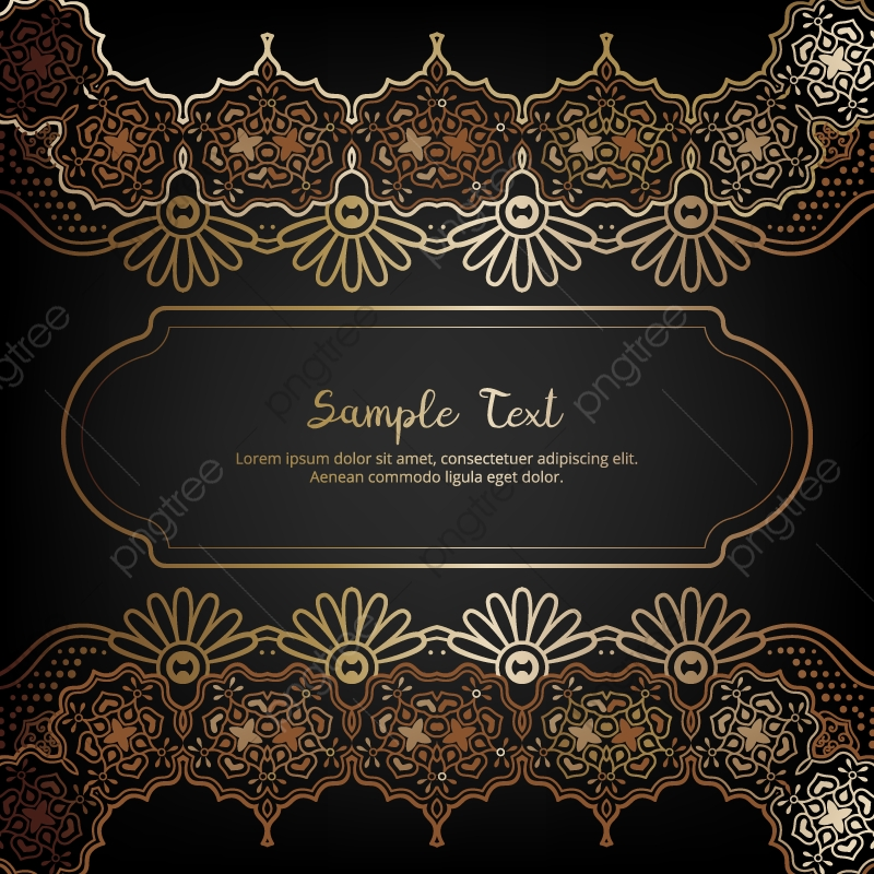 Elegant Invitation Card With Floral Decor In Gold And Black