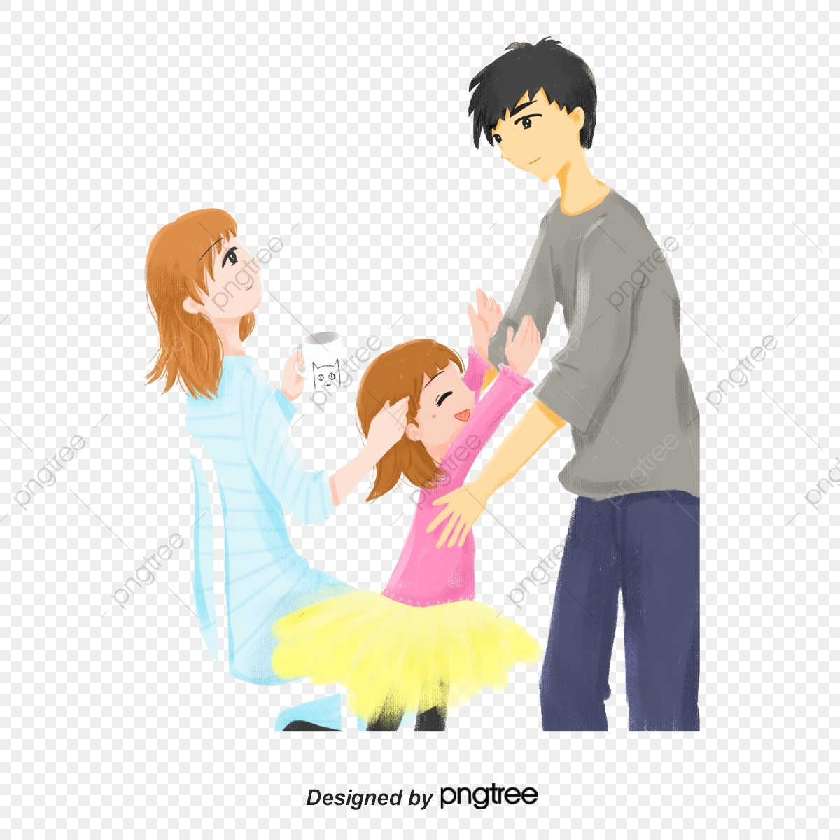Keluarga Ibu Ayah Bayi Perempuan Keluarga Anak Perempuan