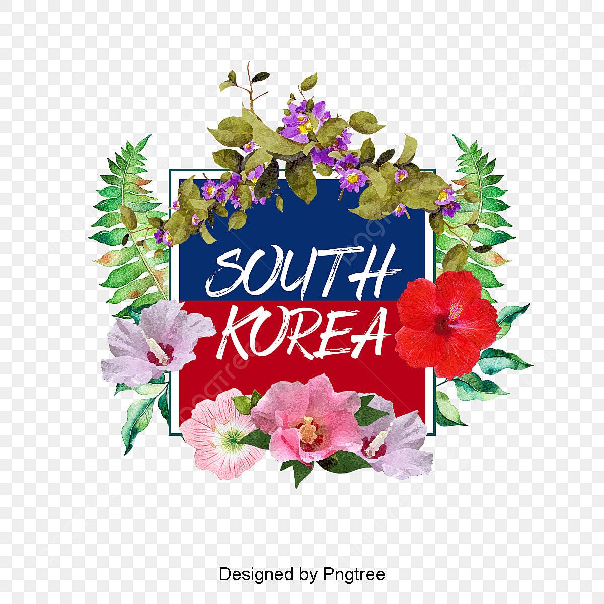 Fesyen Tangan Dicat Kartun Korea Hibiscus Bunga Sempadan Elemen