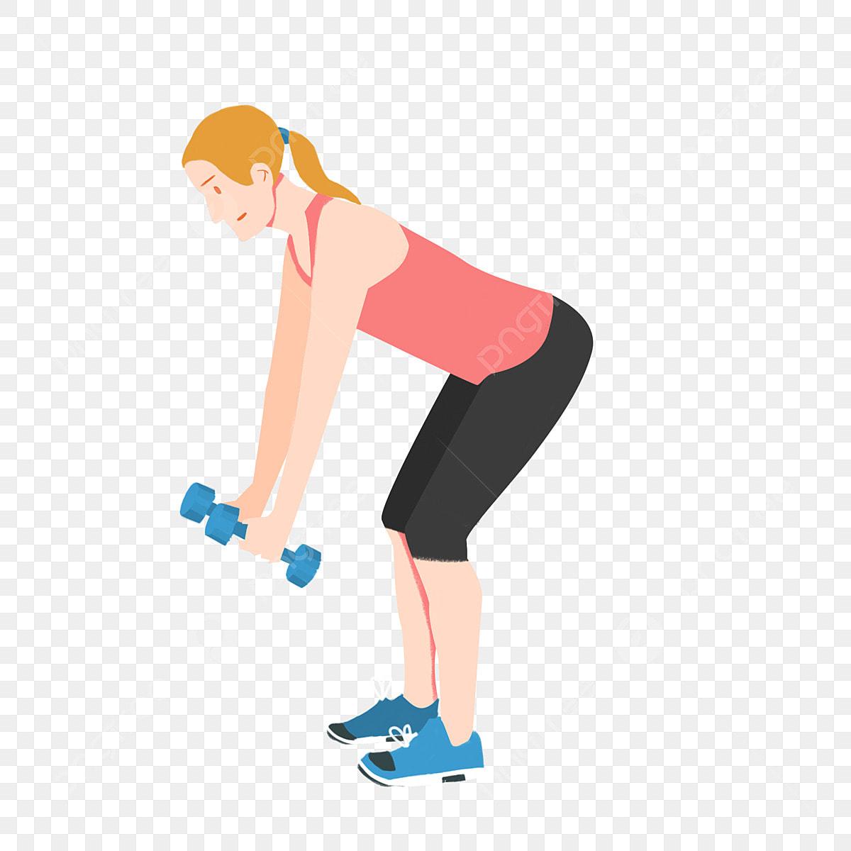 Fitness Menina Dos Esportes Haltere Personagem De Desenho Animado