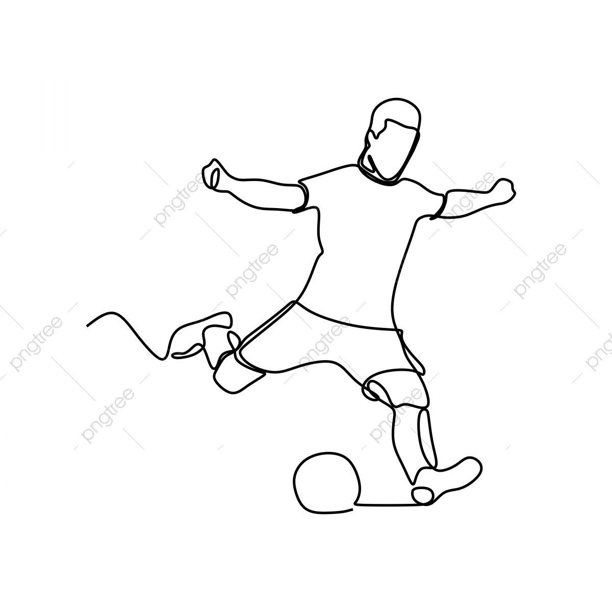 Football Player Continuous Line Drawing Kick Defense Foot Png And Vector With Transparent Background For Free Download