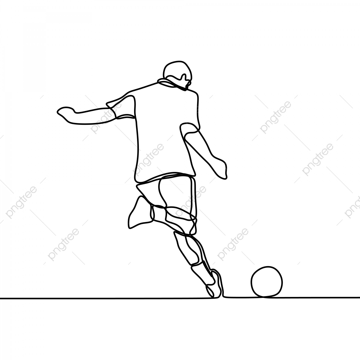 Football Player Kick A Ball Continuous Line Drawing Kick Defense Foot Png And Vector With Transparent Background For Free Download