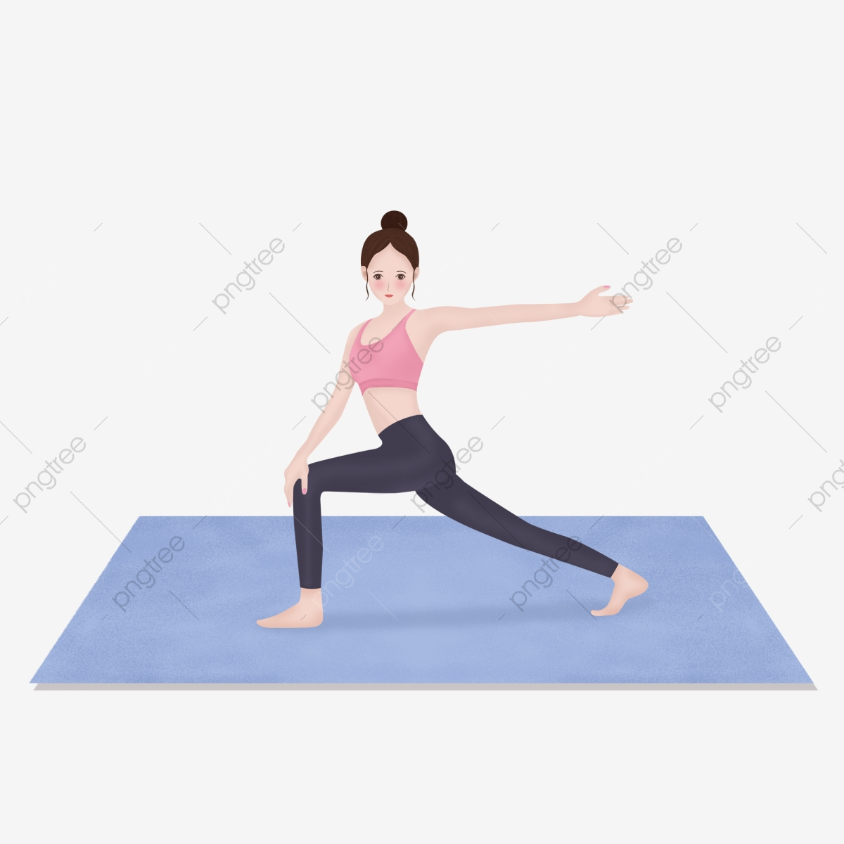 Girl Doing Yoga Exercise Illustration Material Yoga Day Motion Yoga Fitness Png Transparent Image And Clipart For Free Download