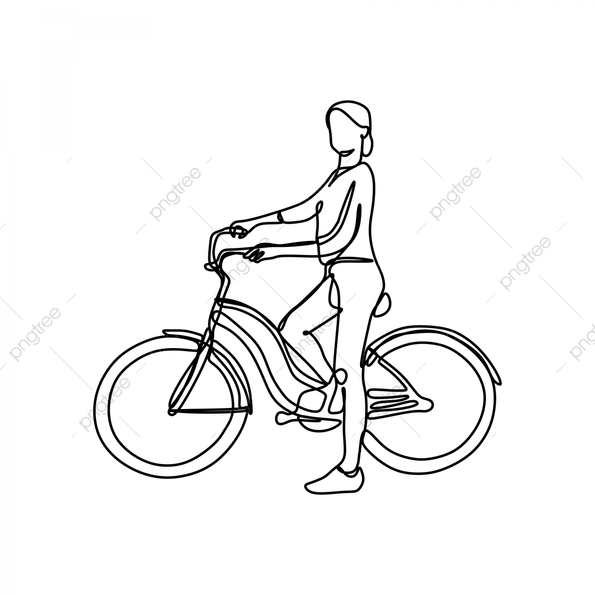 Girl Riding A Bike One Continuous Line Drawing Vector Illustration